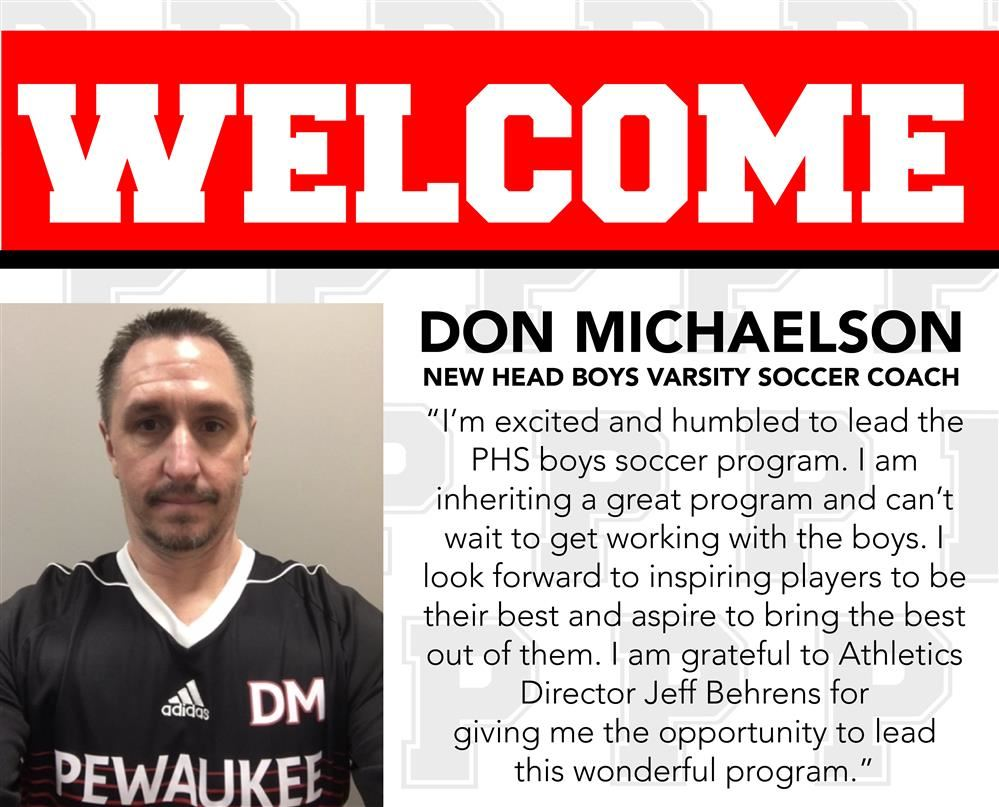 PEWAUKEE HIRES DON MICHAELSON AS NEW HEAD VARSITY BOYS SOCCER COACH